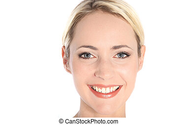 Attractive smiling woman with blue eyes