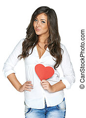 Attractive smiling woman with heart - Woman in white shirt ...