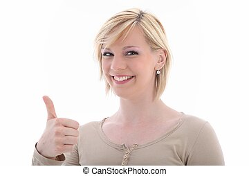Attractive smiling woman with thumb up