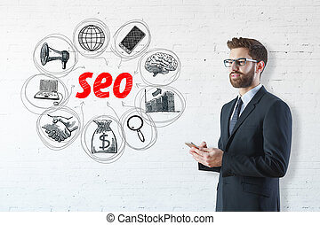 Search engine optimization concept - Attractive smiling ...