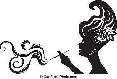 attractive smoking woman black stencil, cliche for sticker