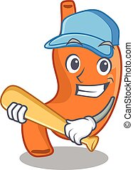 Attractive stomach in caricature character playing baseball. Vector illustration