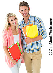 Attractive student couple smiling
