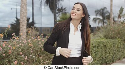 Attractive stylish woman waiting for a friend