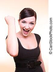 Attractive succeeding woman looking at camera
