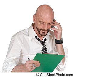 businessman, multi tasking - Attractive successful bearded...