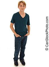 Attractive Teen Boy Caucasian Standing with Hands in Pockets