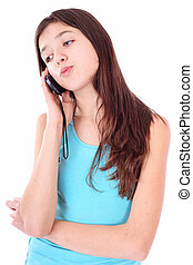 attractive teen girl talking on phone over white
