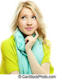 attractive thoughtful blond woman