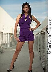 Attractive twenties asian fashionable woman