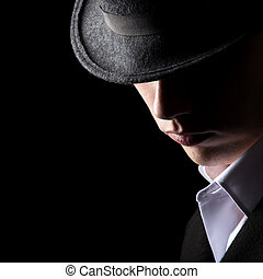 Attractive unrecognizable man in hat