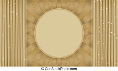 Attractive video background with a place to enter your own text. Empty circle frame in the middle. Tunnel effect. Gold luxurious design.