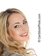Attractive vivacious blonde woman - Closeup studio portrait ...