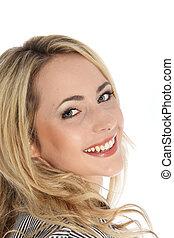 Attractive vivacious blonde woman - Closeup studio portrait...