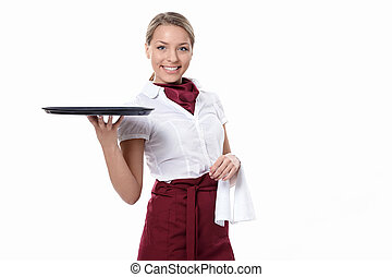 Attractive waitress - A young attractive waitress with a...