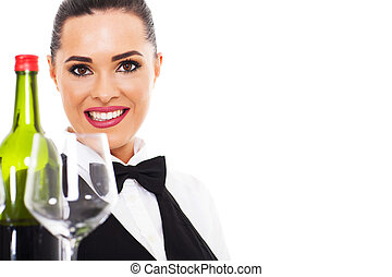 attractive waitresss with wine and glass