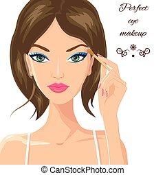 Attractive woman applying eyeshadow. Fashion, makeup and beauty