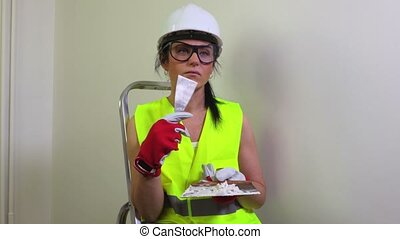 Attractive woman builder