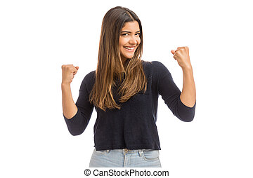 Attractive Woman Celebrating Success