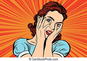Attractive woman covering her face with both hands. Pop art...