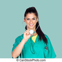 Attractive woman doctor with uniform
