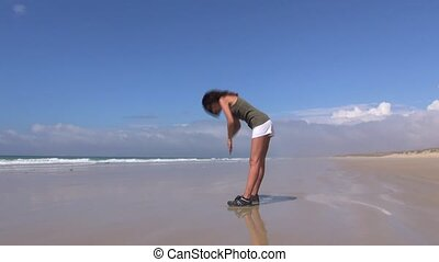 attractive woman doing gymnastics o