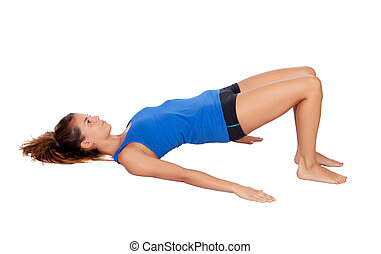 Attractive woman doing pilates exercises isolated on white...