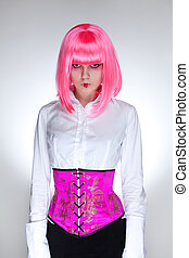 Attractive woman dressed in oriental corset