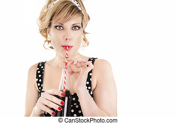 Attractive woman drinking cola.