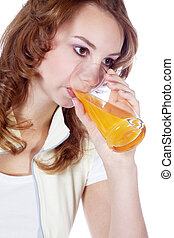 attractive woman drinking orange juice