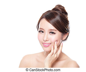 attractive woman face with health skin