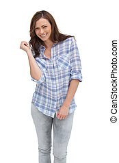 Attractive woman gesturing in front