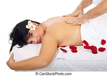 Attractive woman get back massage