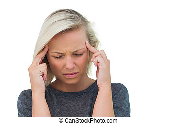 Attractive woman having a headache on white background