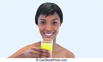 Attractive woman holding a glass