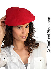 Attractive woman in a beret