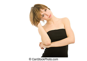 attractive woman in a black dress