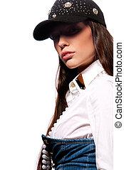 woman in a cap