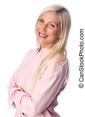 Attractive woman in a pink shirt an
