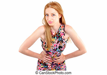 attractive woman in dress posing on white background
