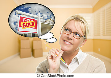 Attractive Woman in Empty Room with Thought Bubble of a Sold For Sale Real Estate Sign in Front of House.
