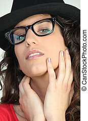 Attractive woman in geeky glasses