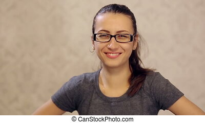 Attractive Woman in Glasses Laughing