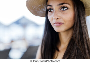Attractive woman in hat