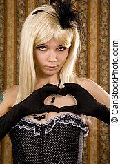 Attractive woman in polka dot corset