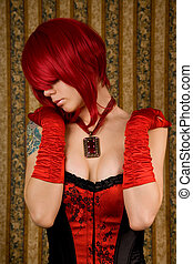 Attractive woman in red corset