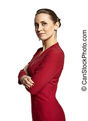 Attractive Woman in Red Dress Looking at Camera