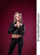 attractive woman in sexy leather jacket