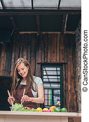 Attractive woman in the kitchen