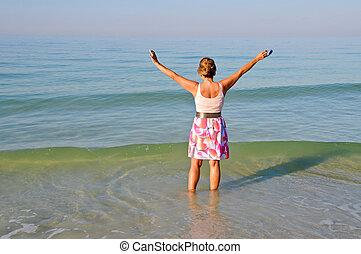 Attractive Woman in the Ocean